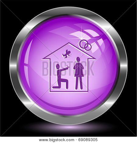 Home affiance. Internet button. Raster illustration.