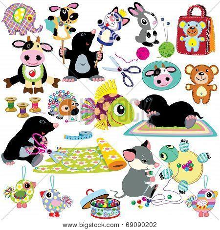 set with handmade crafts