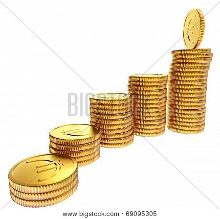 Stacks of gold EURO coins