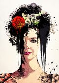 Combination surrealism and fashion effortlessly. Stylish Surreal Portrait of a young girl. poster