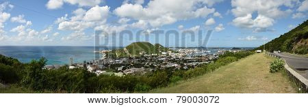 Panoramic Scenery From Saint Maarten In The Caribbean