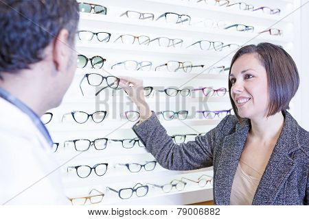 Woman Choosing Glasses