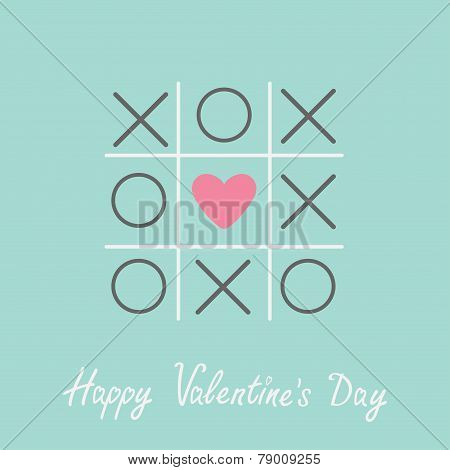 Tic Tac Toe Game With Cross And Heart Sign Mark Happy Valentines Day Card Blue Flat Design