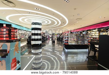 PARIS - SEPTEMBER 08: modern perfume shopping center on September 08, 2014 in Paris, France. Paris, aka City of Love, is a popular travel destination and a major city in Europe