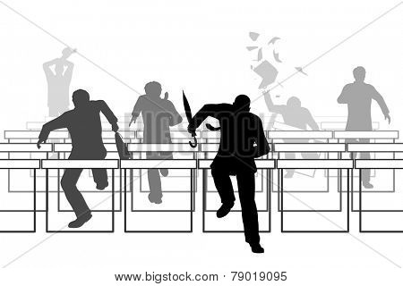 Editable vector illustration of businessmen racing over hurdle obstacles