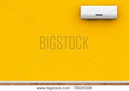 Modern air conditioner on a yellow wall poster