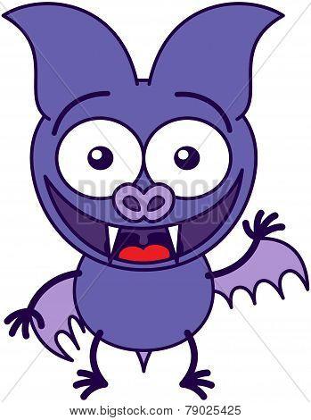 Purple bat waving and greeting