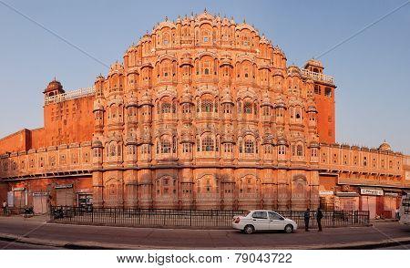 Jaipur, India - 18 Nov 2012: Facade Of Hawa Mahal - Palace Of Winds. Jaipur, India, Rajastan