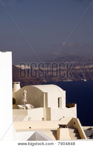 House Over Mediterranean Sea Caldera Santorini Greece