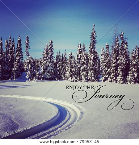 Scenic Instagram Of Snowmobile Tracks In Snow With Quote