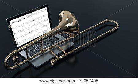 computer with trombone