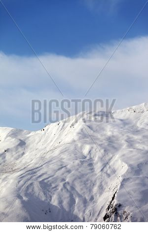 Off-piste slope in nice day. Caucasus Mountains, Georgia, ski resort Gudauri. poster