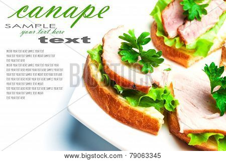 Closeup of delicious ham and salad canapes sandwiches with parsley lying on a white plate with removable text. Horizontal composition.