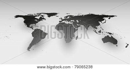 World map in perspective, vector template for business design