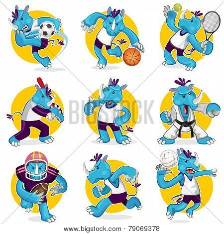 Rhino Sports Mascot Collection Set