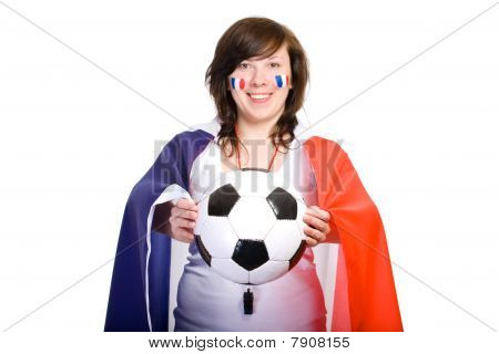 French Football Team Supporter With Flag And Ball, Isolated