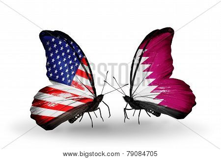 Two Butterflies With Flags On Wings As Symbol Of Relations Usa And Qatar