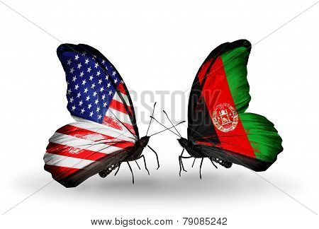 Two Butterflies With Flags On Wings As Symbol Of Relations Usa And Afganistan