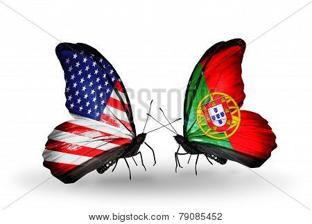 Two Butterflies With Flags On Wings As Symbol Of Relations Usa And Portugal