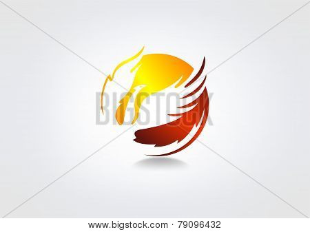 Flying phoenix vector logo design