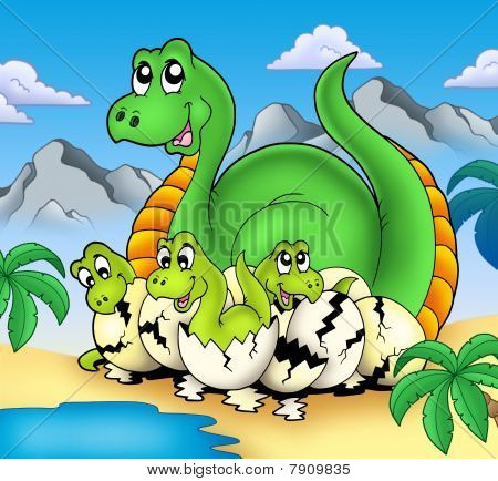 Dinosaur Mom With Little Babies