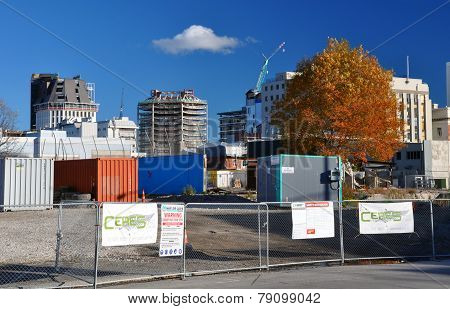 Cbd Buildings Await Demolition, Christchurch New Zealand