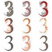 Set of variations fishnet (lace) numeric figures 3. poster