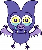 Purple bat in minimalistic style with sharp fangs, bulging eyes and short wings while feeling sad and crying bitterly poster