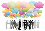 Business social media people network in a cloud of company speech bubbles colors. poster