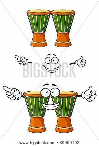 Cartoon african wooden djembe drum character