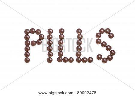 Pills Written With Brown Pills