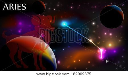 Aries - Space Scene with Astrological Sign and copy space