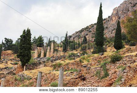 Old Ruins And Temple Of Apollo In Delphi, Greece