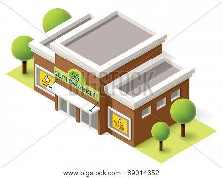 Vector isometric supermarket building icon