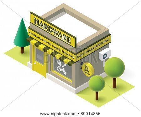 Vector isometric hardware shop building icon