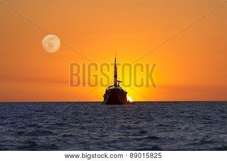 Fantasy Ship Moon Sun Ocean