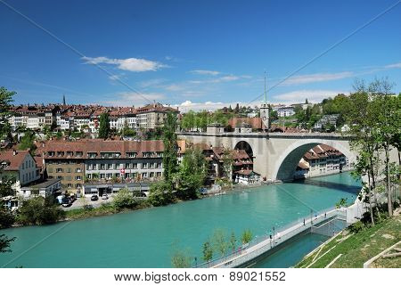 BERNE, SWITZERLAND - MAY 5: Bridge on the River Aare in Bern, Switzerland. 5 may 2012 poster