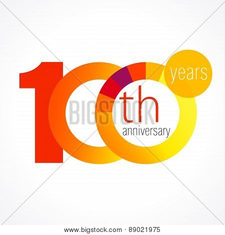 100 years old round logo. Anniversary year of 90 th vector chart template medal. Birthday greetings circle celebrates. Celebrating numbers. Colorful digits. Figures of ages, cut sections. Letter O orange.