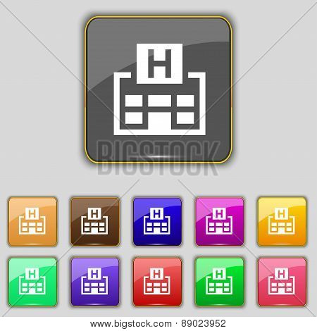 Hotkey Icon Sign. Set With Eleven Colored Buttons For Your Site. Vector