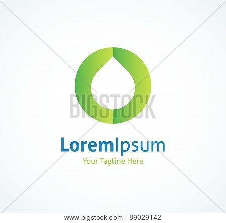 Water drop on a green circle background vector logo icon