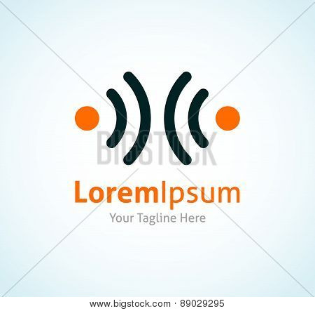 Two dots transmitting radio waves oscillation vector logo icon