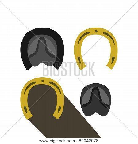 Footprints of horse and horseshoe