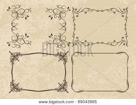 Set of 4 different, decorative frames on aged background. Vector illustration for your design.