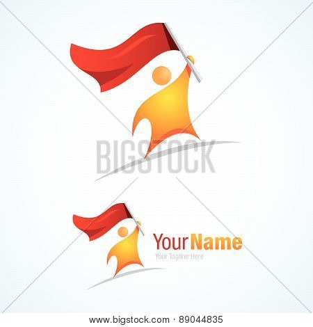Man with flag conqueror graphic design logo icon