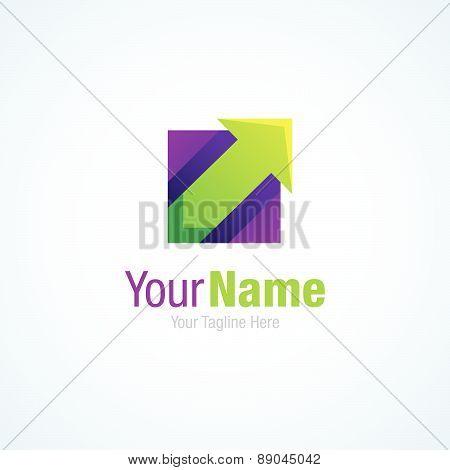 Green up arrow business break through graphic design logo icon