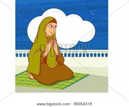 Islamic month of prayer, Ramadan Kareem celebration with young Muslim lady offering Namaz (Islamic Prayer) in night.