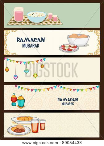 Website header or banner set for holy month of muslim community, Ramadan Kareem celebration. poster