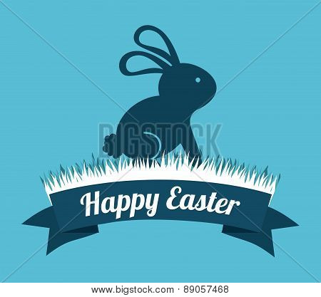 happy easter over blue background vector illustration