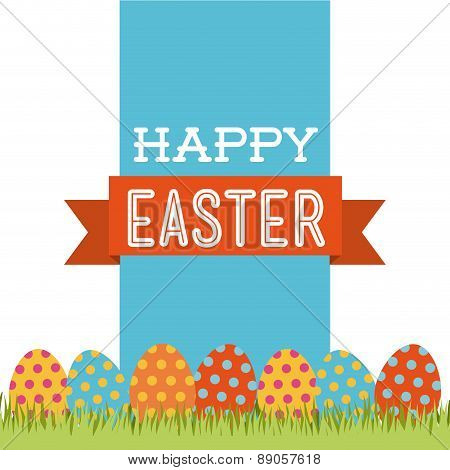 happy easter over white background vector illustration