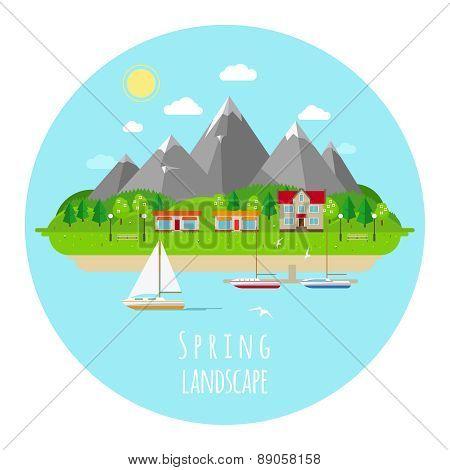 Flat spring landscape illustration with green hills